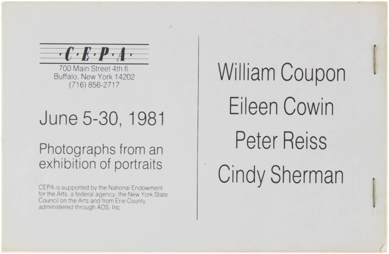 Photographs from an Exhibition of Portraits. Cindy Sherman, William Coupon, Eileen Cowin, Peter Reiss.