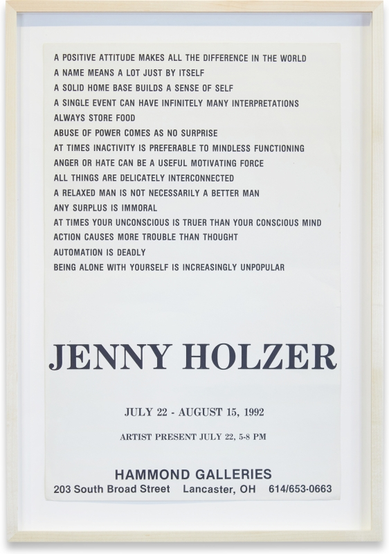 Hammond Galleries Solo Exhibition. Jenny Holzer