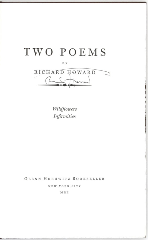 Two Poems (Signed First Edition).