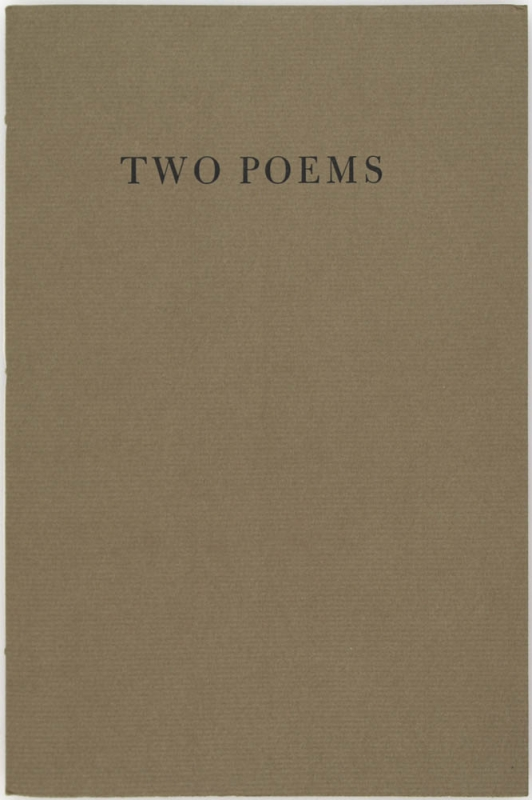 Two Poems (Signed First Edition). Richard Howard
