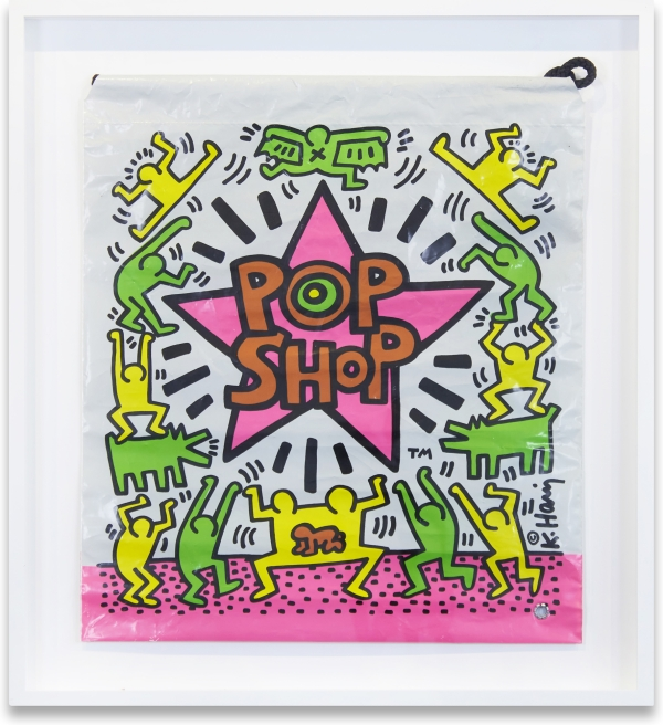 Plastic Drawstring Shopping Bag from the Pop Shop. Keith Haring