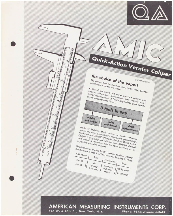 AMIC Quick-Action Vernier Caliper. Ladislav Sutnar