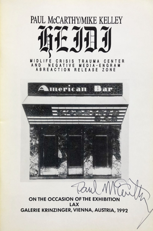 Heidi: Midlife Crisis Trauma Center and Negative Media-Engram Abreaction Release Zone (Signed First Edition).