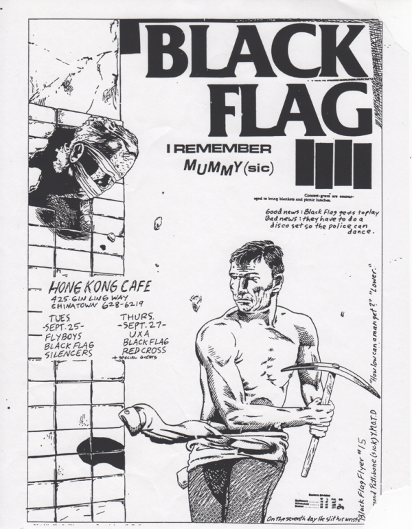 Black Flag at Hong Kong Cafe (1979 Concert Flyer). Raymond Pettibon